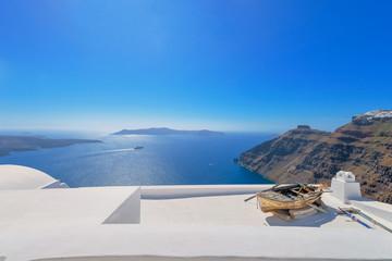 Fototapete - Greece Santorini island in Cyclades,  beautiful and colorful wid