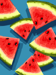 vector of sliced watermelon pieces
