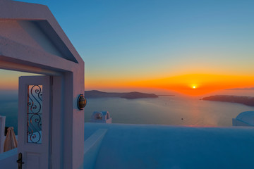 Fototapete - Greece Santorini island in Cyclades, the most famous sunset in t