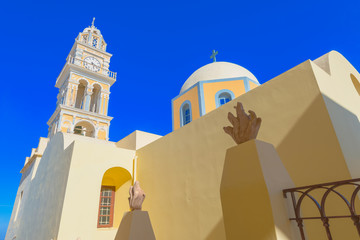 Fototapete - Greece Santorini island in Cyclades, traditional view of white w