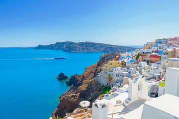 Fototapete - Greece Santorini island in Cyclades, traditional white washed vi