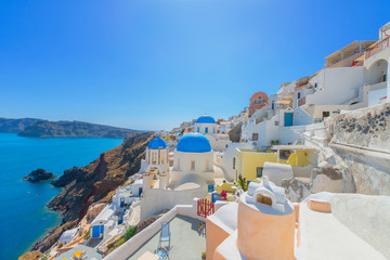 Poster de jardin Santorini Greece Santorini island in Cyclades, traditional white washed vi