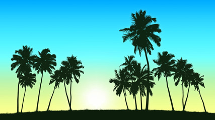 group of coconut trees on sunrise background