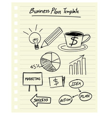 vector drawing business plan concept on paper note.