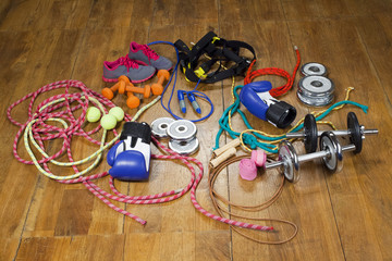 gym equipment on the wooden floor