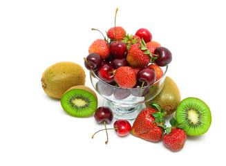 kiwi, strawberry and cherry on a white background. horizontal ph