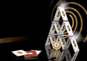 Illustration of a exclusive Dollar icon  on the casino table