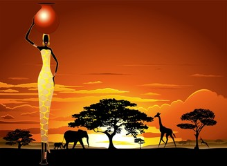 Wall Murals Draw African Woman on Savannah Sunset-Donna Africata nel Tramonto