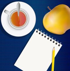 bloc notes - carnet - journaliste - tasse de thé - vue du dessus - crayon