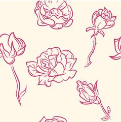 seamless pattern. doodle flower set