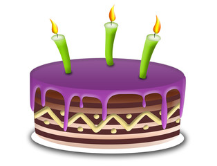 Illustration of cake with purple topping and green candles