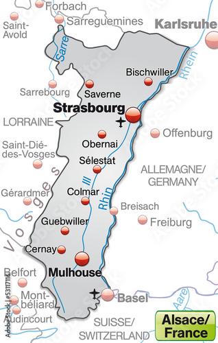 Elsass Karte Frankreich.Karte Der Region Elsass In Frankreich Stockfotos Und
