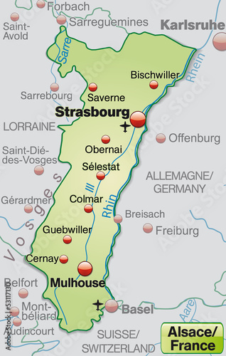 Elsass Karte Frankreich.Karte Der Region Elsass In Frankreich Stock Image And Royalty Free