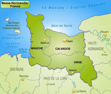 Karte der Region Basse-Normandie mit Departements