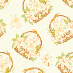Seamless pattern with basket of blooming lilies.