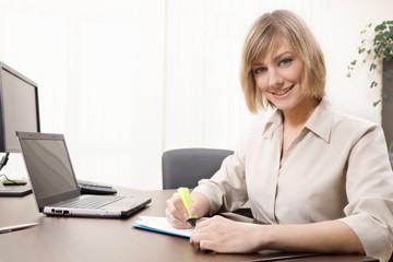 Businesswoman highlighting chart