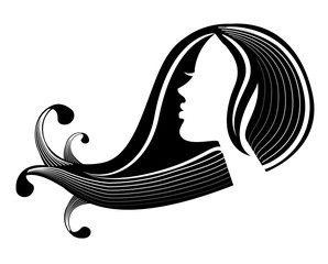 female silhouette in profile and hair