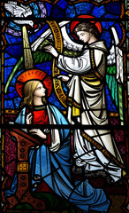 Fototapete - Annunciation: Mary and angel Gabriel