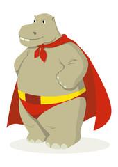 Cartoon illustration of a hippopotamus as superhero