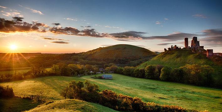 Corfe Castle sunrise panoramic Dorset England