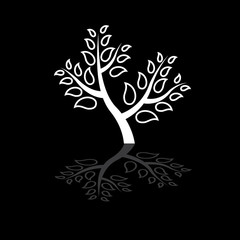 Concept vector graphic- abstract black & white tree icon(symbol)