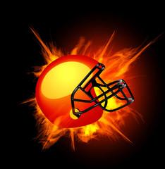 American football helmet in fire