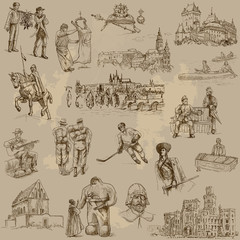 Czechoslovak collection - hand drawings into vector set