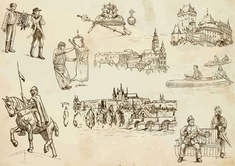 Czechoslovak collection 2 - hand drawings into vector set