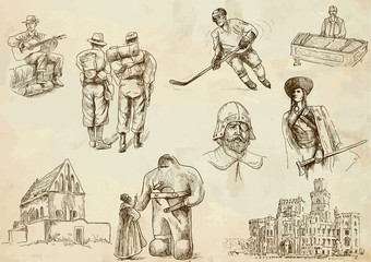 Czechoslovakia collection 1 - hand drawings into vector set