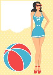 girl in blue swimsuit