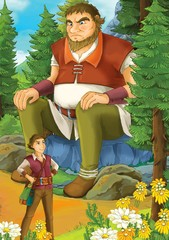 Cartoon scene of a man meeting a giant in the forest - illustration for children