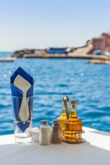 Fototapete - Greece Santorini island in Cyclades, traditional view of greek t