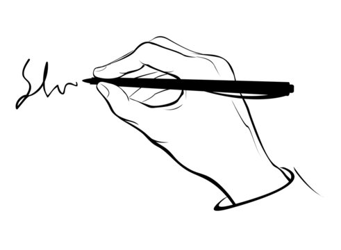 Writing hand outline