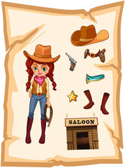 A piece of paper with an image of a cowgirl and a saloon bar