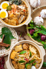 Curry Noodle and prawn noodle