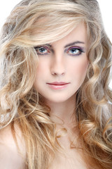 whiteheaded young woman with beautiful blue eyes