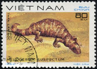 stamp shows a Gila monster - Heloderma suspectum