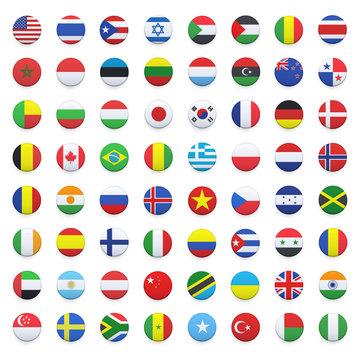 Collection of flag button design.