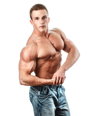 Bodybuilder isolated on white