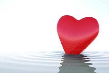 Fototapete - Zen red heart on calm water