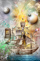 Printed kitchen splashbacks Imagination Ghost vessel