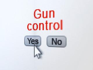Safety concept: Gun Control on digital computer screen