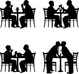 Silhouette of  lovely retired elderly couple together