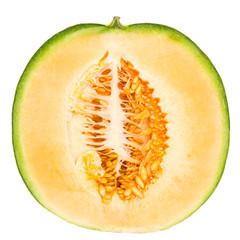Halbe Melone stehend isoliert auf weißem Hintergrund