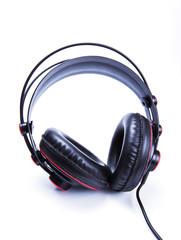 black old headphone on white background