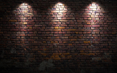Printed roller blinds Brick wall Brick wall with lights
