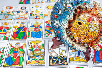 Tarot card reading with sun and moon (landscape).).