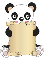 panda with parchment