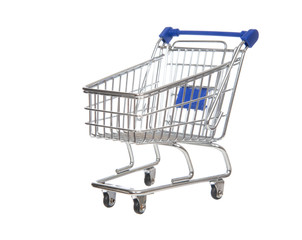 Empty shopping cart for sale isolated