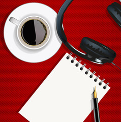 bloc notes - écrire - musique - casque audio - écouter - travailler